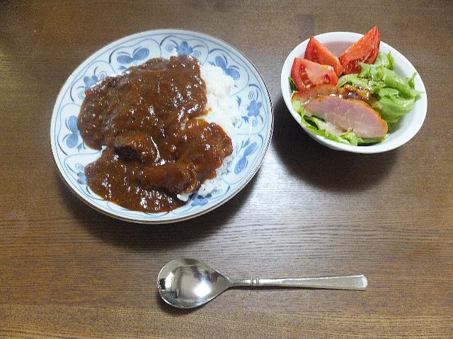 ハヤシライスとサラダ