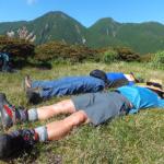 立中山で草を背にする