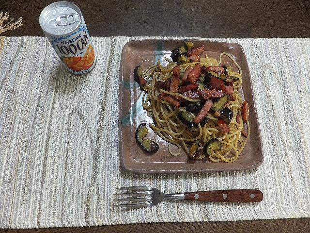 なすとベーコンのスパゲティ