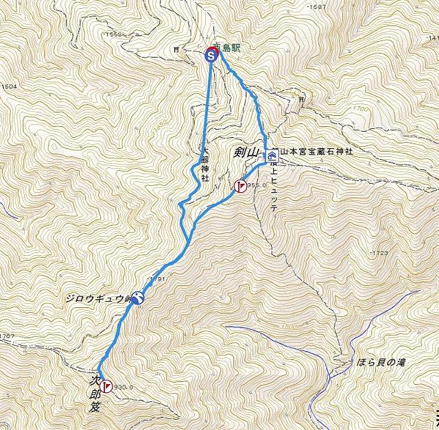 剣山の山行軌跡図