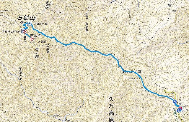 石鎚山 山行軌跡図
