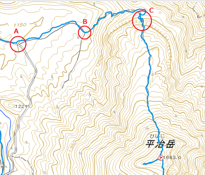 平治岳北尾根ルートのポイント