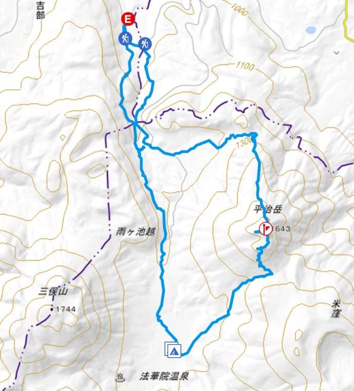 平治岳の山行軌跡図
