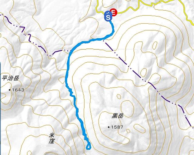 黒岳 山行軌跡図
