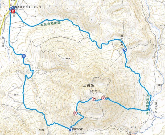 三俣山山行軌跡図