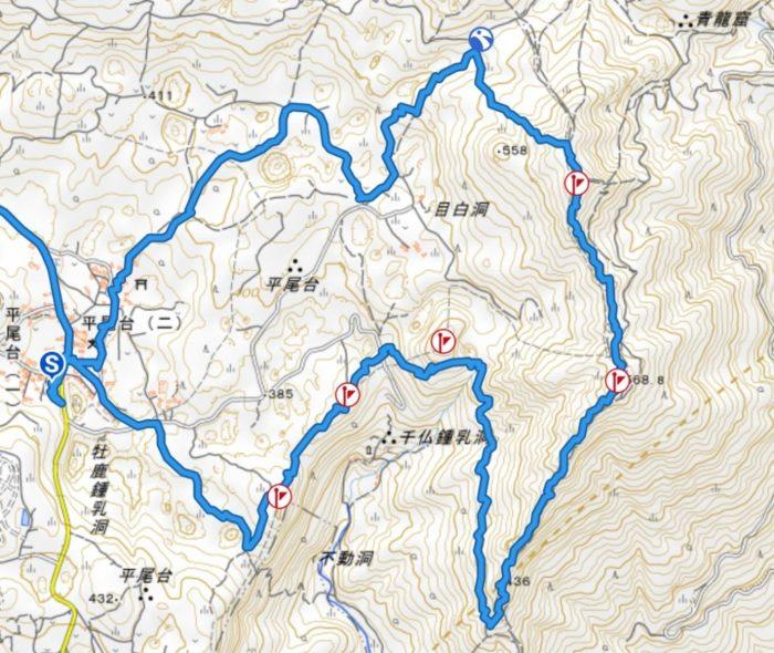 平尾台山行軌跡図