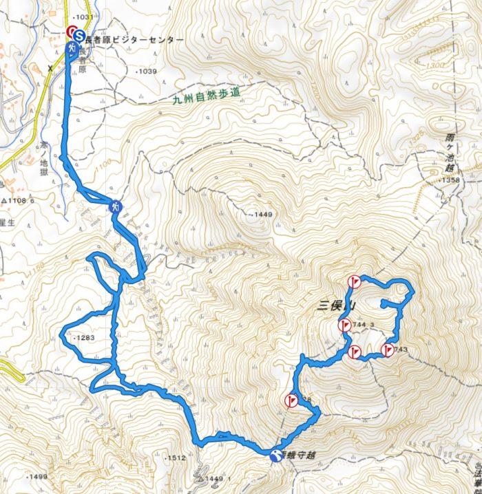 くじゅう連山 三俣山山行軌跡図