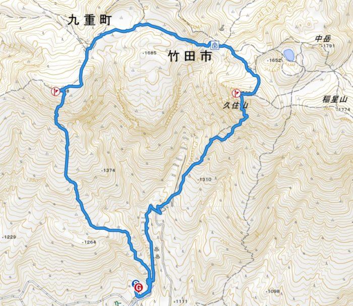 赤川~扇ヶ鼻~久住山 山行軌跡図