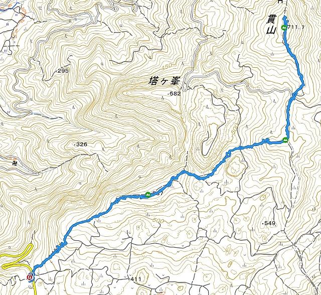 貫山 山行軌跡図