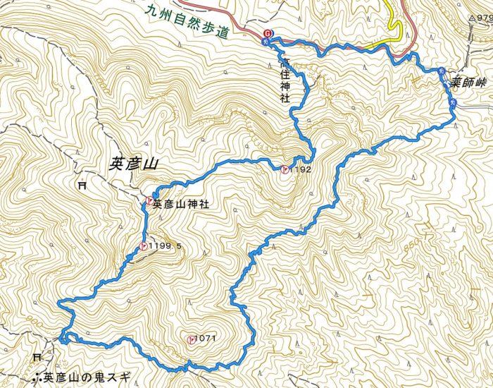 裏英彦山ルート山行軌跡図