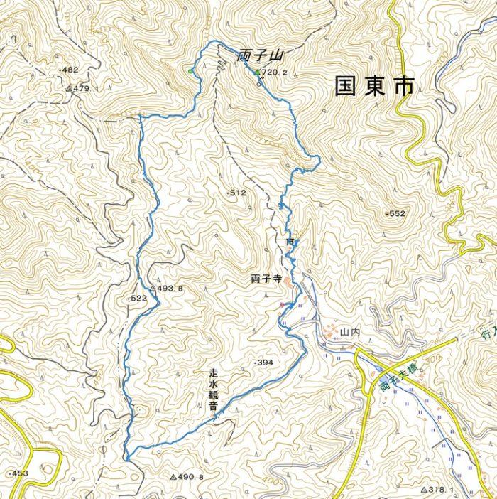 両子山、山行軌跡図