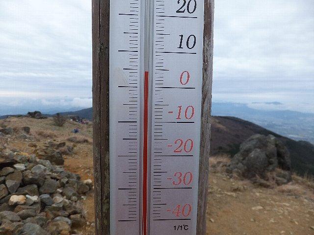 福智山頂の温度計