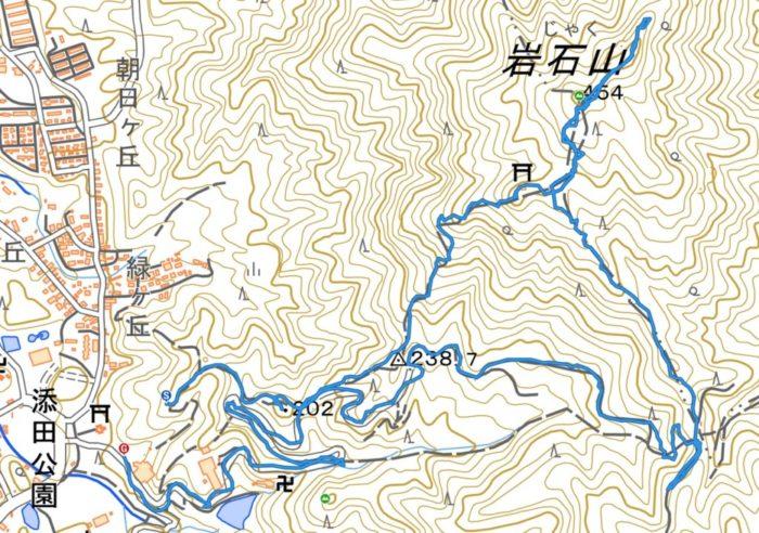山行軌跡図(岩石山)