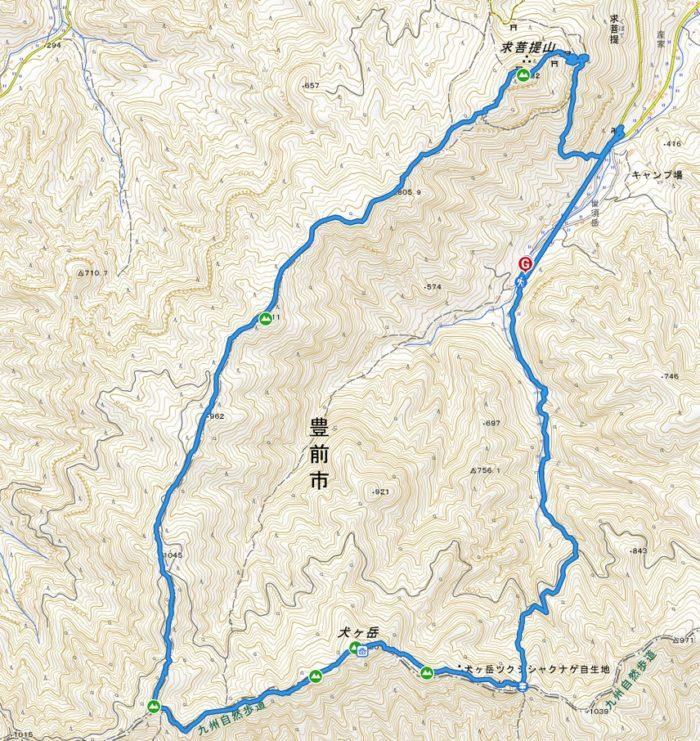 山行軌跡図(犬ヶ岳)