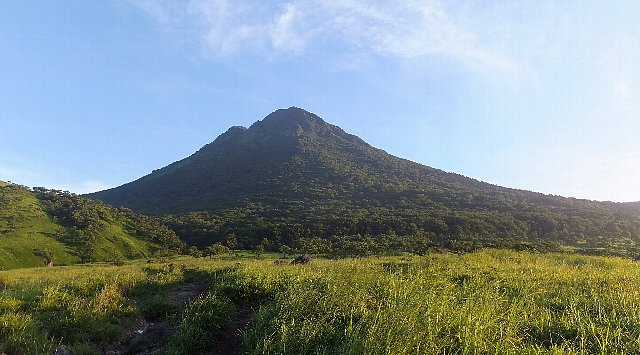 朝日を受ける盛夏の由布岳