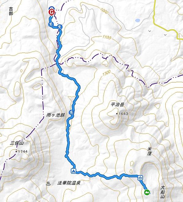山行軌跡図(大船山)