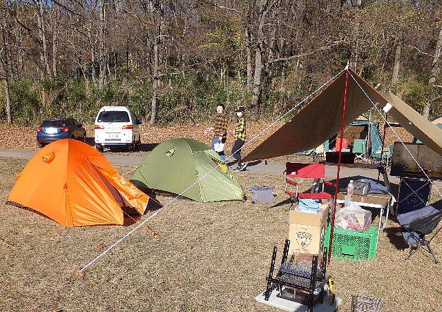 志高湖キャンプ場でのテント