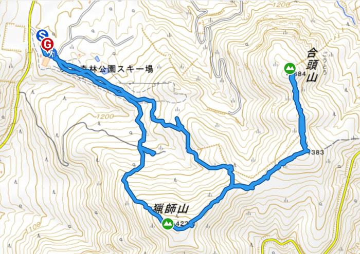山行軌跡図(猟師岳・合頭山)