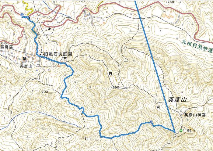 英彦山 山行軌跡図