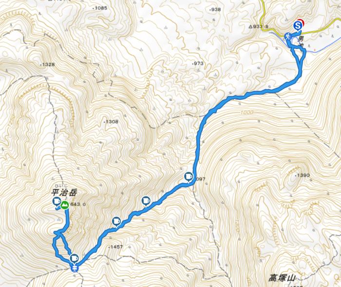 山行軌跡図(平治岳)