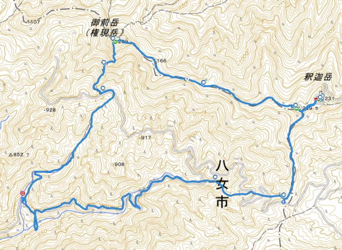 山行軌跡図(御前岳~釈迦岳縦走)