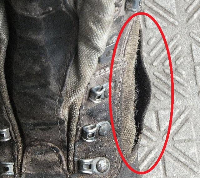 穴が開いた登山靴